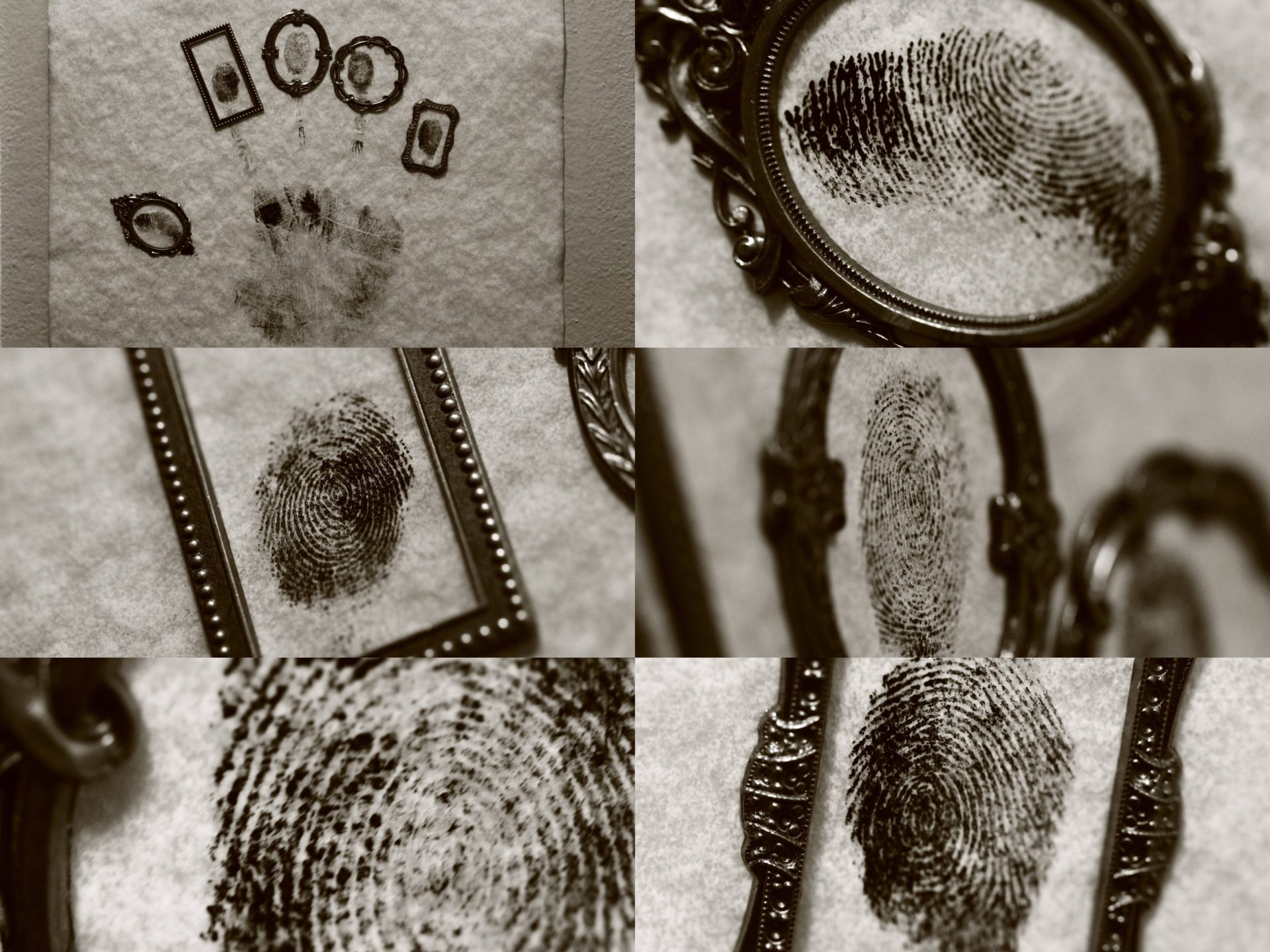 A collage of black and white photos of framed thumbprints. Be Funky by Odell.