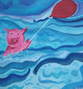 painting of pig in the ocean sailing with a red balloon